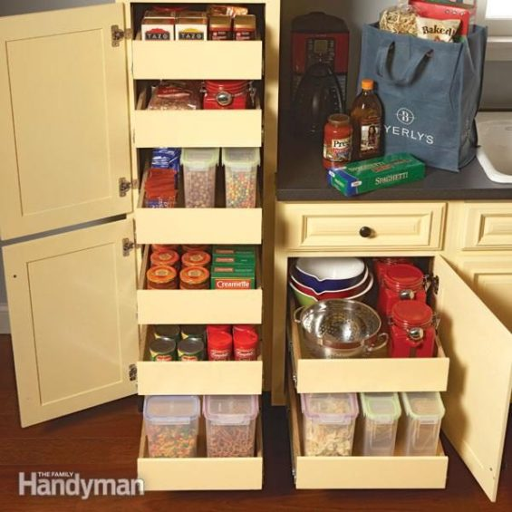 Various ingredients stocked in the pull out shelves of kitchen cabinets