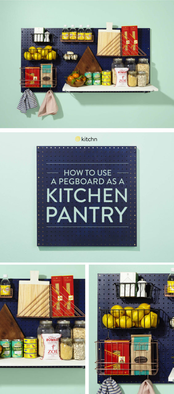 Pegboard turned into a kitchen pantry